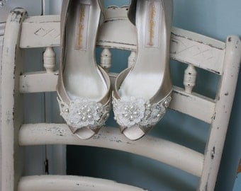 Wedding Shoe - Lace Shoe - Lace Wedding Shoes - Lace Bridal Shoes - Vintage Lace - Crystals - Pearls - Choose Heel Height -  200 Shoe Colors