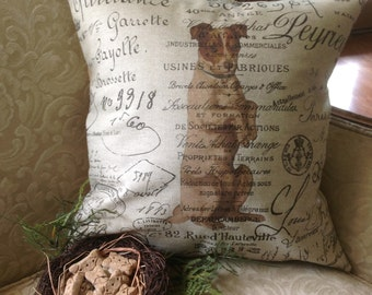 Pillow Cover French Script and Burlap  Jack Russell Terrier by Gathered Comforts