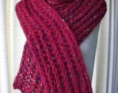 SALE: Irish Wool HAND Knit Chunky Scarf in RED Textured