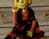 Anthropomorphic Pumpkin(head) Doll - Pumpkin Art Doll - Gretchen - Halloween - Orange and Black - pumpkins