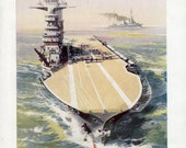 American Aircraft Carrier, 1940s US Navy battleship print, boy bedroom decor