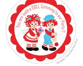 Raggedy Ann Stickers,  Raggedy Ann and Andy PRINTED round Stickers, tags, Labels or Envelope Seals A814