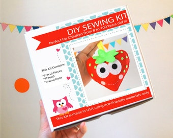 Strawberry Sewing Kit, Felt Kids' Crafts, Felt Sewing Kit in a Box, 8+ years old craft, No need sewing machine, READY TO SHIP A824