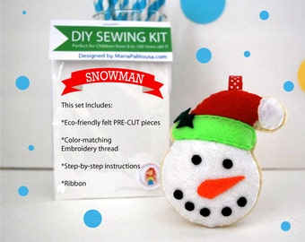 Snowman Ornament Sewing Kit, Felt Hand-Sewing Kit, Craft Felt Sewing Kit, Kid Sewing Kit, diy Mini Felt Sewing Kit READY TO SHIP A834