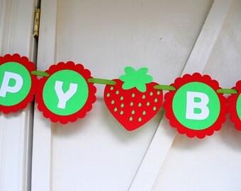 Strawberry banner, handmade Birthday Banner, happy Birthday banner, Strawberry party Banner, A848