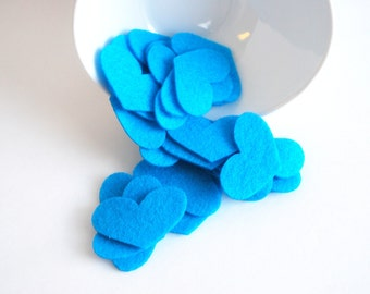 Felt Heart Die cuts, 25 Turquoise  Blue Felt Heart Die Cuts , Eco-Friendly Felt hearts 1.8 inches wide  A884
