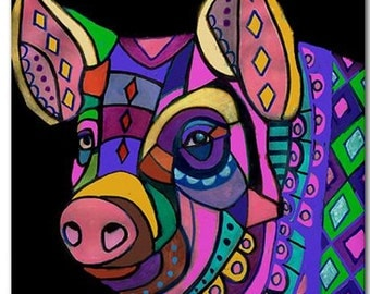 Pig art Tile Ceramic Coaster Mexican Folk Art Print of painting by Heather Galler (HG757)