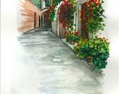 "ART Painting Original Watercolor Landscape ""TUSCANY"" Italy Italian Landscape & Scenic"