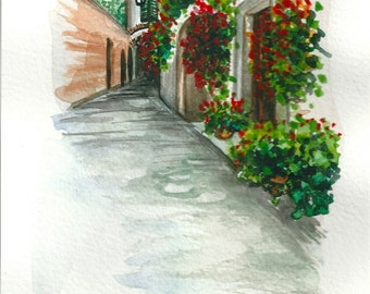 "ART Painting Original Watercolor Landscape ""TUSCANY"" Italy Italian Landscape & Scenic"