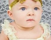 Gold Glitter Bow Headband. Girls Hair Accessories, Glitter Elastic Headband, Gold Bow Headband. Sparkle Headband, Adult, Teen, Baby Girls