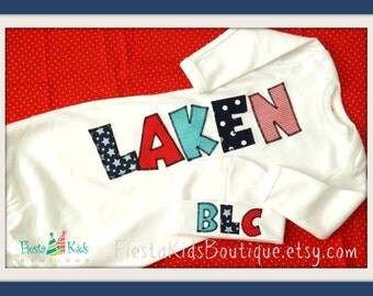 Boy layette gown with name, personalized baby outfits, nautical theme, baby sleep sack, newborn hats