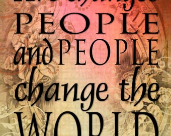 Art Changes People -16x20 Canvas Word Art Prints - People Change the World - red yellow gold artsy