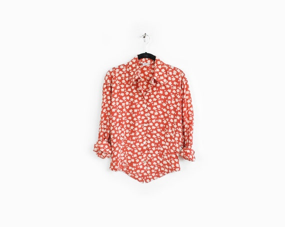 Autumn Leaves Vintage Washed Silk Blouse in Persimmon- s
