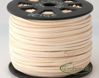 Faux suede cord 3mm wide - beige - 3 meters