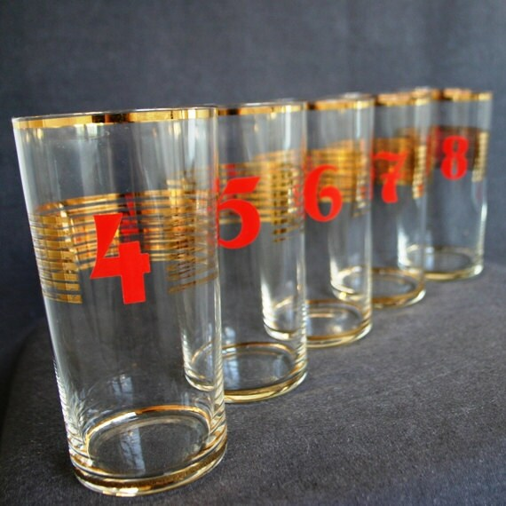 Antique numbered beer glasses. Dads gift idea.