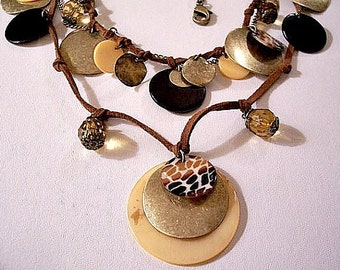 Shells Discs Beads Necklace Gold Tone Vintage Two Strand Suede Cord Adjustable Link Chain Brown Faceted Dangles Round Small Large Coins