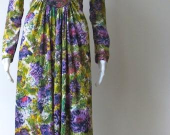 Vintage Boho 1970s Purple Floral Maxi Dress
