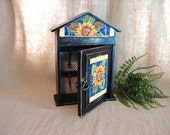 French Country Key Cabinet / Sunflower Mosaic Key Cupboard /Upcycled Black Key Cabinet with Mosaic