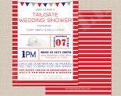 Tailgate Wedding Shower Invitation - Red, Blue, Grey
