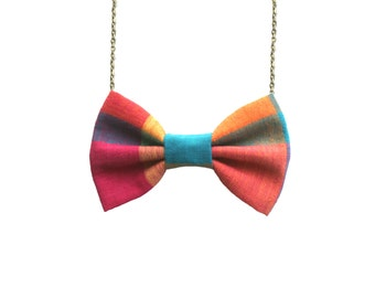 Multicolored Plaid Style 1 - Bow Tie Necklace, Custom Sterling Silver Chain Bowtie for Girls and Women, Gift Wrapped
