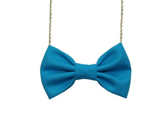 Turquoise Bow Tie Necklace, Casual Women Bowtie, Turquoise