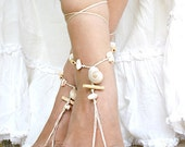 Barefoot sandals beaded with seashell and driftwood handmade beads, Barefoot sandles, Foot jewelry, Beach sandal, Ankle bracelet, Bare foot