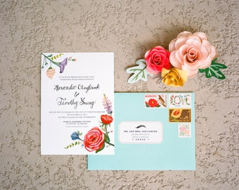 Floral Wedding Invitation | Printable Wedding Invitation | digital pdf file | Spring Flowers