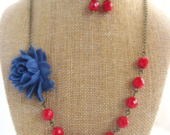 Navy Blue Flower Necklace Statement Necklace Red and Navy Jewelry Bridesmaid Gift Nautical Wedding Jewelry