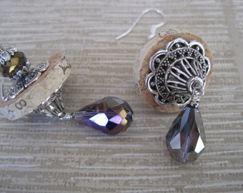 Wine Cork Earrings Accented with Purple Crystals and Silver