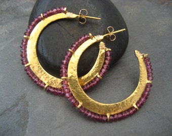 Crescent hoop earrings with faceted rhodolite garnet  edge