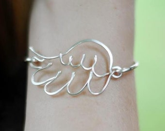 Angel Wing Bangle - Sterling Silver, Yellow Gold Filled or Copper Available