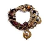 Wrap Bracelet Boho Jewelry Convertible Necklace Fiber Jewelry Mixed Media Jewelry