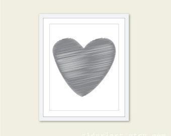 Grey Heart Art Print - Scribble Heart  - Slate grey - Love - Wall Art Modern Home Decor
