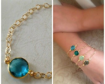 22k Vermeil Blue Topaz Bezel Set, Framed Bracelet with Gold Filled Chain-statement bracelet