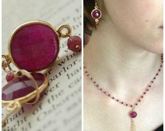 Ruby Earrings Bezel Set in Gold Vermeil
