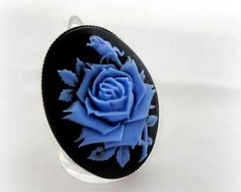 Blue rose cameo ring, gothic lolita princess adjustable ring, something blue bridal jewelry, gift for her
