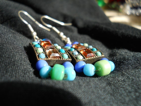 Geometric Art Deco Blue and Green Cocktail Party Earrings