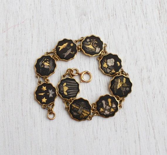 Vintage Damascene Asian Panel Bracelet Mid By Maejeanvintage