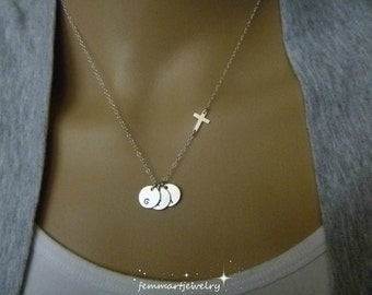 Cross Necklace Women - Cross with Initial Necklace - Family Initial Charm - Christian Charm - Birthday Gift - Faith Charm - Mommy Necklace