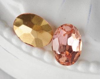 18x13mm Rosaline Light Pink Rose Glass Jewels Gems Stones, Foiled Backs, Quantity 2
