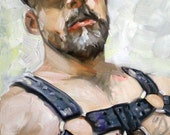 Leather Bear in Harness 30x20 inches oil linen gallery wrapped canvas by Kenney Mencher (gay art)