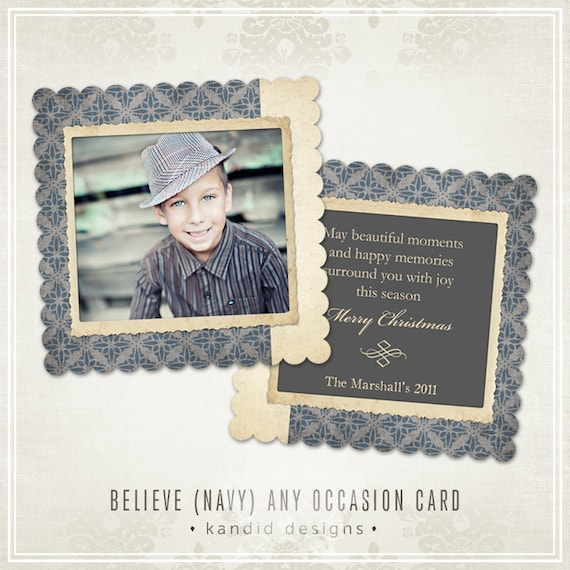 Believe Christmas Card (Navy)- Millers Lab- LUXE 5x5
