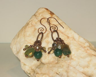 Aventurine, Agate, Crystal & India Foil Pumpkin Glass Earrings with Copper