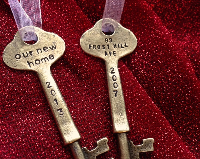 Two sided New home: Christmas Ornament Personalized Skeleton Key, antique bronze