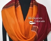 Hand Painted Silk Scarf. Burgundy & Golden Terracotta Scarf. Golden Cabernet Scarf. Silk Scarves Colorado. LARGE 14x70 in. MADE to ORDER