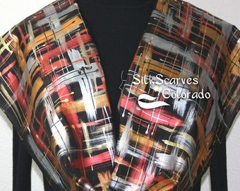 Hand Painted Silk Scarf. Black, Silver, Copper, Gold Handmade Scarf. Manhattan Lights Scarf. Silk Scarves Colorado. 11x60 in. Made to order.