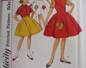 Vintage 1950's Girl's Dress or Jumper and Blouse and Skirt Pattern - Simplicity 4537 - Size 8, Breast 26
