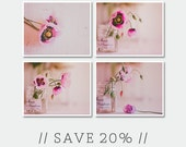 Sale Set of Four 8x10 prints - Floral Prints, Botanical Decor, Pink Flower Set, Flower Photography, Still Life Photography - Pink Poppies
