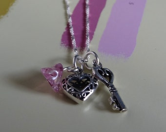 Sterling Silver Heart, Skeleton Key Charm Necklace, Pink Glass Charm. Gift For Her. Best Friends. Key To My Heart Jewelry. Anniversary Gift