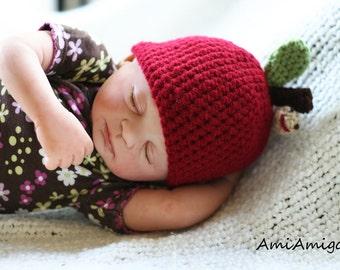 Crochet Newborn Baby Apple Hat